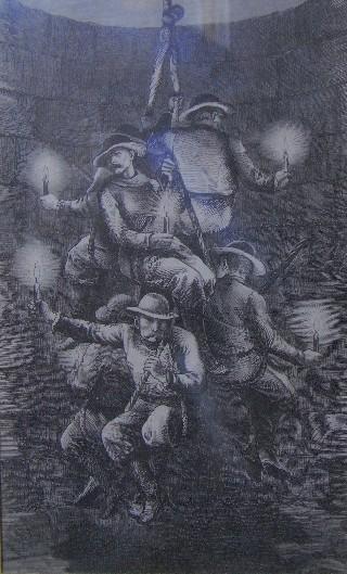 ascensore di antica miniera (stampa presso il museo)